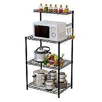 Кухонный стеллаж стальной, полка напольная для микроволновки, посуды и аксессуаров