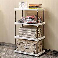 Универсальный напольный стеллаж на 4 полки сборный, стойка для кухни, ванной комнаты