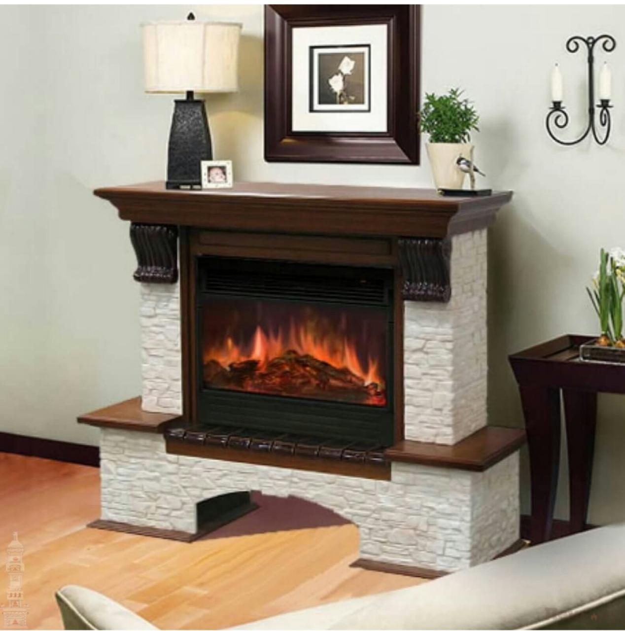 Каминокомплект Fireplace Сеул с эффектом сгоранием дров и пламени со звуком и обогревом
