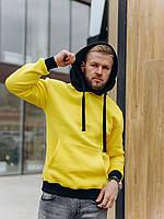Мужское худи с начесом желтое, фото 1