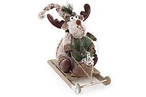 Мягкая новогодняя игрушка Олень на санках 40см цвет - бежевый, в упаковке 1шт. (778-224)