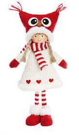Мягкая новогодняя игрушка Девочка в шапке сова 40 см (822-174)
