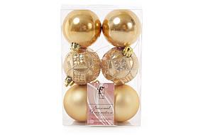 Набор елочных шаров Bonita Ажур золото 6 шт 6 см (147-324)