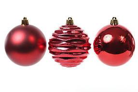 Набор елочных шаров Bona Di Красный 8см, 3 шт ( 147-475)