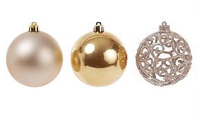 Набор елочных шаров 147-392, 8см х3шт золото