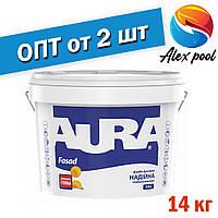 Aura Fasad Белая 14 кг - Фасадная краска акриловая матовая белая для наружных и внутренних работ