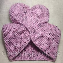 Повязка на голову вязанная розовая, тм Бабушка Оля / ol - 3021