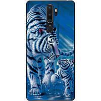Силиконовый бампер чехол для Oppo A5 2020 с рисунком Тигры