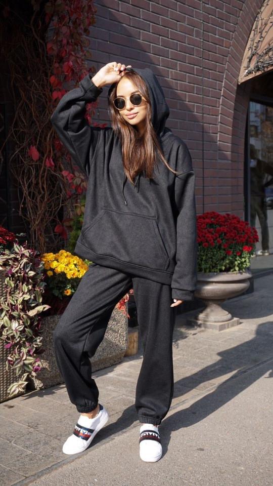 Женский костюм кенгуру Dizzy зимний на флисе черного цвета