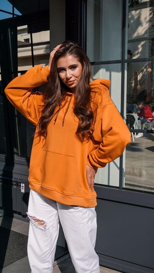 Кофта кенгуру женская Dizzy горчичная худи оранжевая