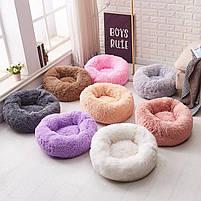 Лежак для кошек и собак, лежанка-подушка, кровать M 50 см до 4 кг светло-бежевый цвет, фото 3