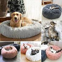 Лежак для кошек и собак, лежанка-подушка, кровать M 50 см до 4 кг светло-бежевый цвет, фото 4