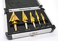 Ступінчасті свердла конусні набір з 5 шт спіральні HSS в кейсі 4-32, фото 1