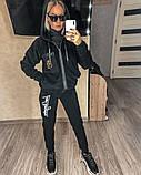 Женский спортивный костюм двойка кофта+штаны экомех на подкладе+трехнить на флисе размер: 58-60, фото 5