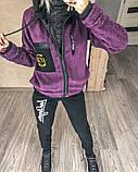 Женский спортивный костюм двойка кофта+штаны экомех на подкладе+трехнить на флисе размер: 58-60, фото 7