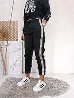 Спортивные штаны на флисе женские ЧЁРНЫЕ (ПОШТУЧНО), фото 1