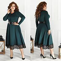 Сукня жіноча стильний, тканина - французький трикотаж, ажур.Широкий пояс в комплекті (48-58), фото 1