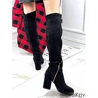Зимние замшевые черные ботфорты. сапоги, сапожки эко-замш на среднем небольшом каблуке