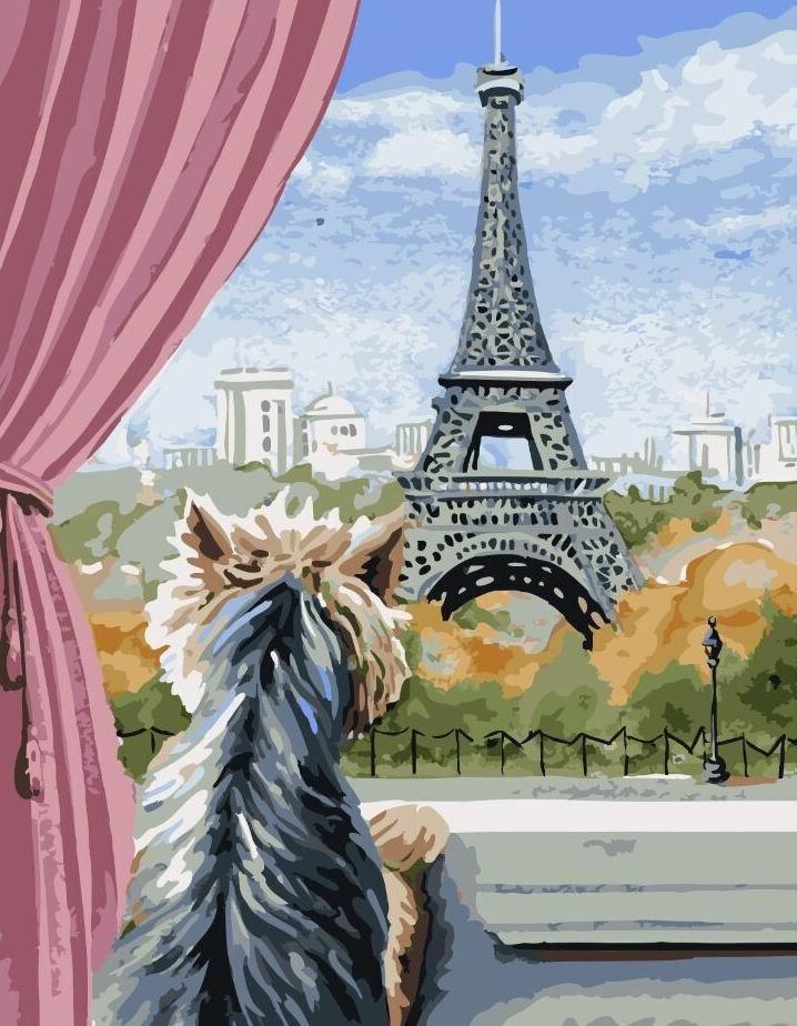 Картина по номерам Париж из окна 40х50 Yarik's (без коробки)
