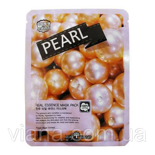Тканинна омолоджуюча маска з перлами MAY ISLAND Pearl Real Essence Mask Pack 25 мл