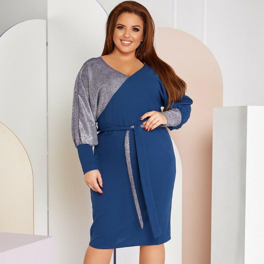 Женское синее вечернее платье с люрексом