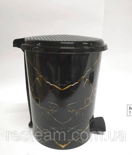 Ведро с педалью пластик 11 л  черный мрамор
