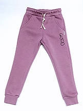Детские теплые штаны для девочки сиреневые