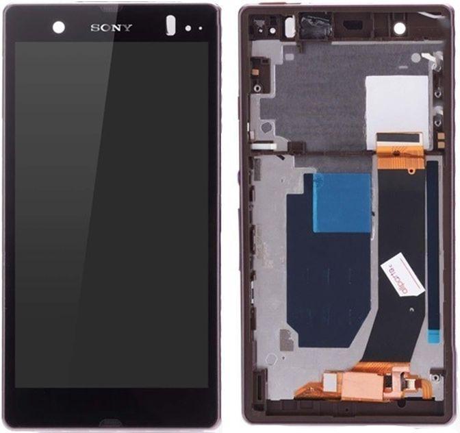 Дисплей (екран) для телефону Sony Xperia Z L36h C6602, L36i C6603, L36a C6606 + Touchscreen with frame (original) Purple