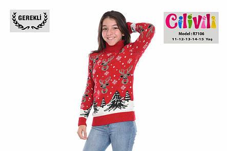 Новогодний тёплый свитер на девочек 11-15 лет Милые олени, фото 2