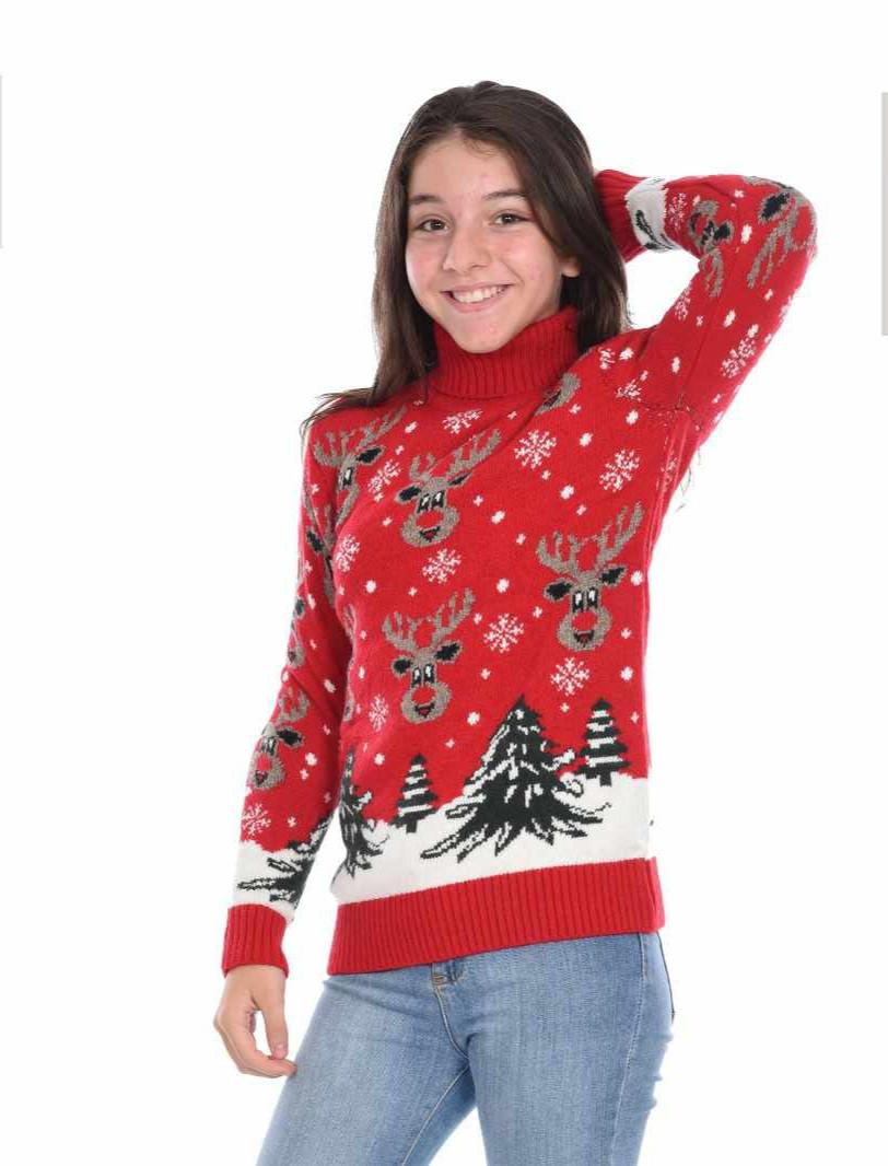 Новогодний тёплый свитер на девочек 11-15 лет Милые олени