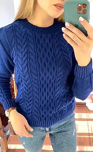 Женский свитер с трикотажными узорами 42-46 (в расцветках)