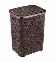 Пластиковая корзина для белья 67л  Ажурная Elif Шоколад