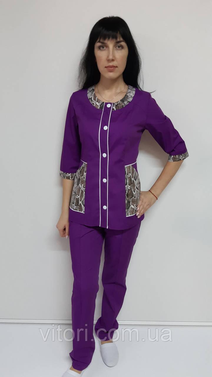 Женский медицинский костюм Лиза хлопок три четверти рукав