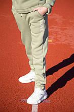 Детские теплые штаны для девочки оливковые