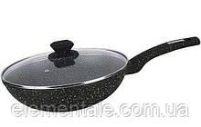 Алюминевая Сковорода Wok 28*7,5 см Venezia Bollire BR-1011 с мраморным износостойким антипригарным покрытием