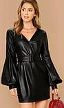 Модное кожаное платье черное, фото 3