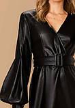 Модное кожаное платье черное, фото 2