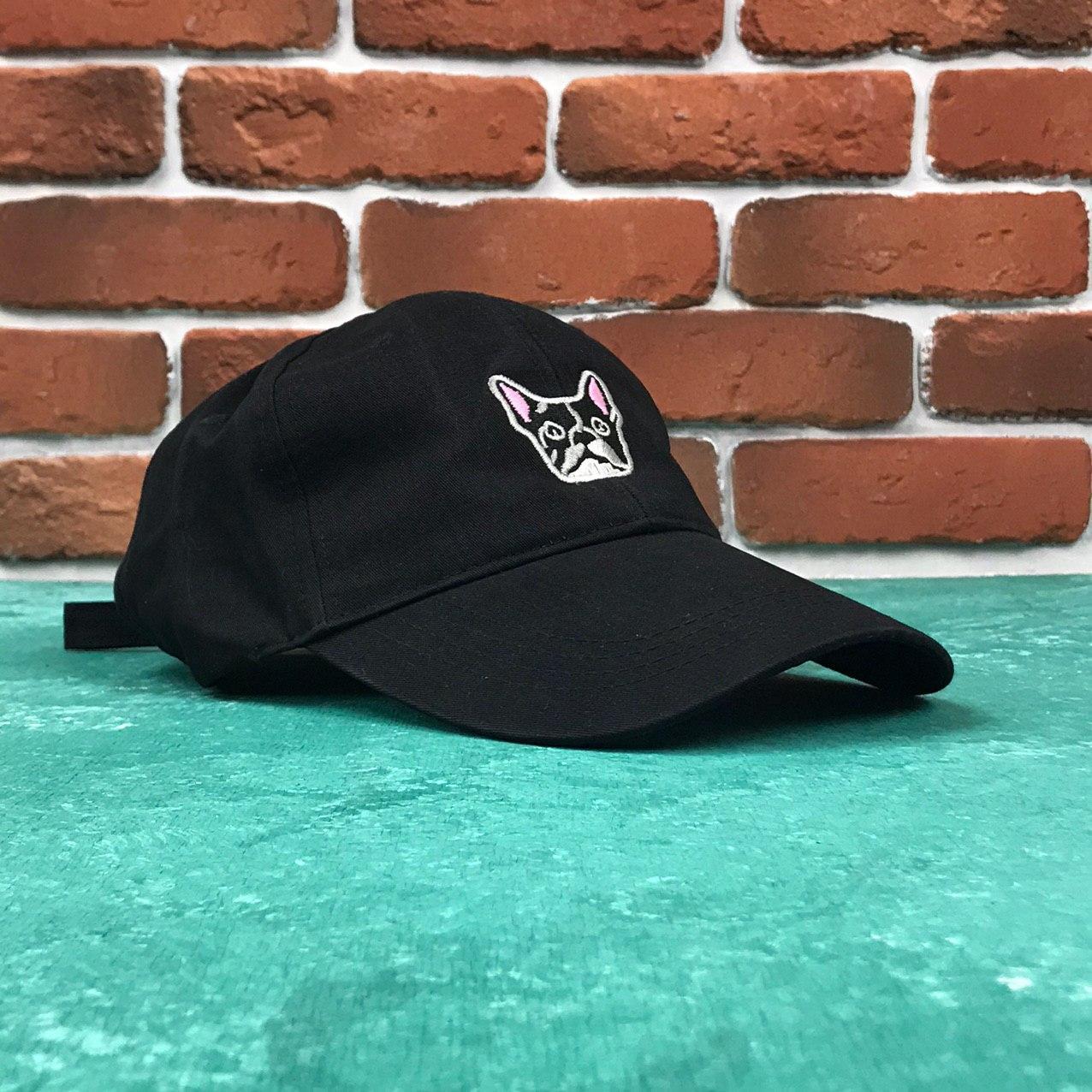 Кепка Бейсболка Мужская Женская City-A Dog с Собакой Бульдогом Черная