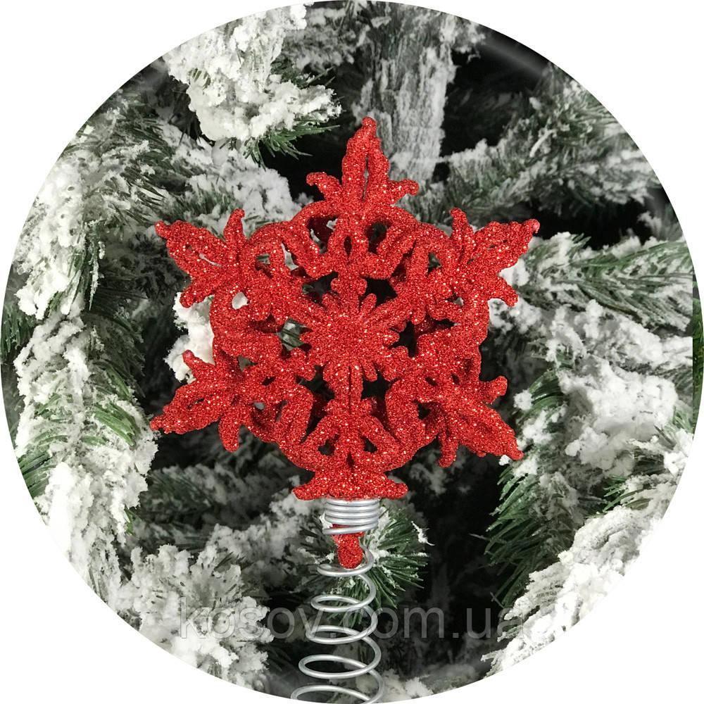 Верхушка на елку «3D звёздочка» 14см (красная)