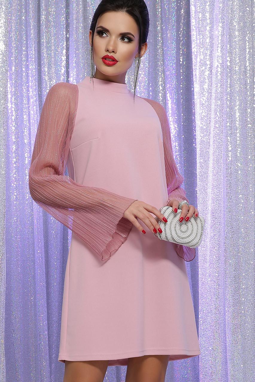 Нарядное платье с прозрачными рукавами в лиловом цвете Вилма