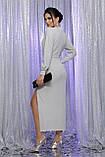 Вечернее платье с разрезом белый серебро Цецилия, фото 3
