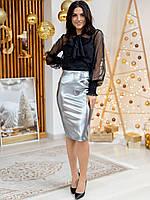 Нарядная женская юбка из эко-кожи 2306, фото 1