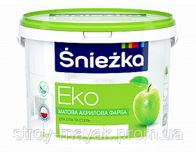 Фарба водоемульсійна Еко Сніжнобіла Снєжка 7 кг для внутрішніх робіт