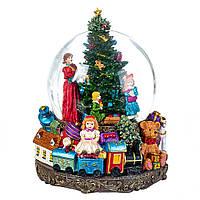 """Большой стеклянный музыкальный шар со снегом """"Новогодний"""" 25х18 см"""
