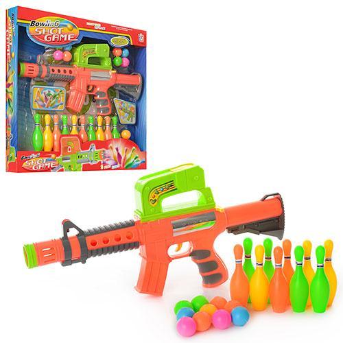 Детский игрушечный автомат с шариками и кеглями для мальчика 648W в коробке (длина 41 см)