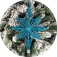 Верхушка на елку «Полярная звезда» 28см (бирюза)