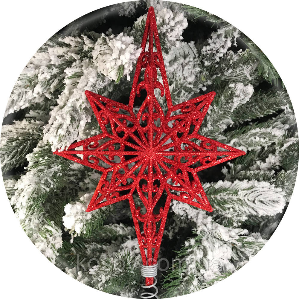 Верхушка на елку «Полярная звезда» 28см (красная)