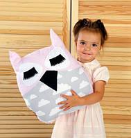 Подушка игрушка детская Хатка Сова Розовая с серым