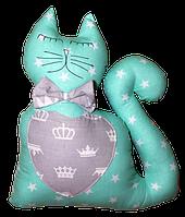 Подушка игрушка детская Хатка Кот Мятный с Серым