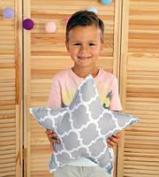 Подушка игрушка детская Хатка Звезда Бирюза с Серым